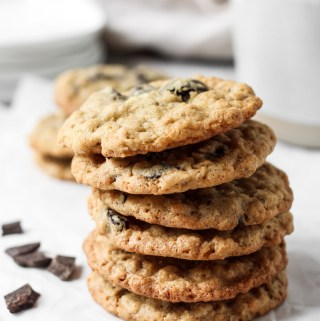 Stack of cherry dark chocolate oatmeal cookies