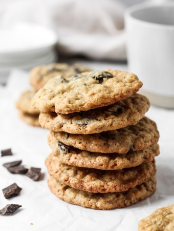 Stack of cherry dark chocolate oatmeal cookies