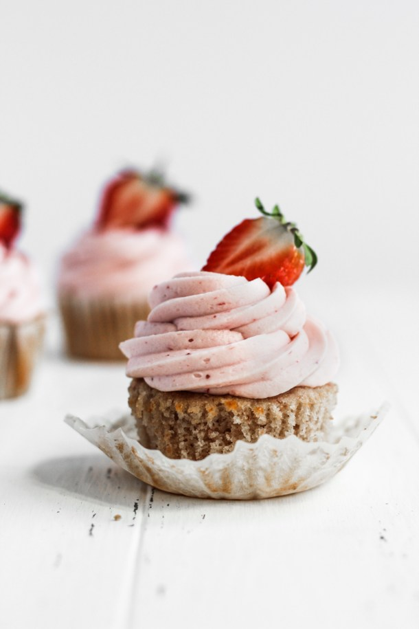 Strawberry cupcake with peeled wrapper