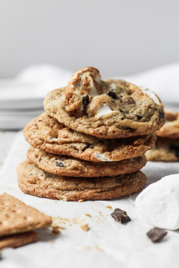 Stack of s'mores cookies