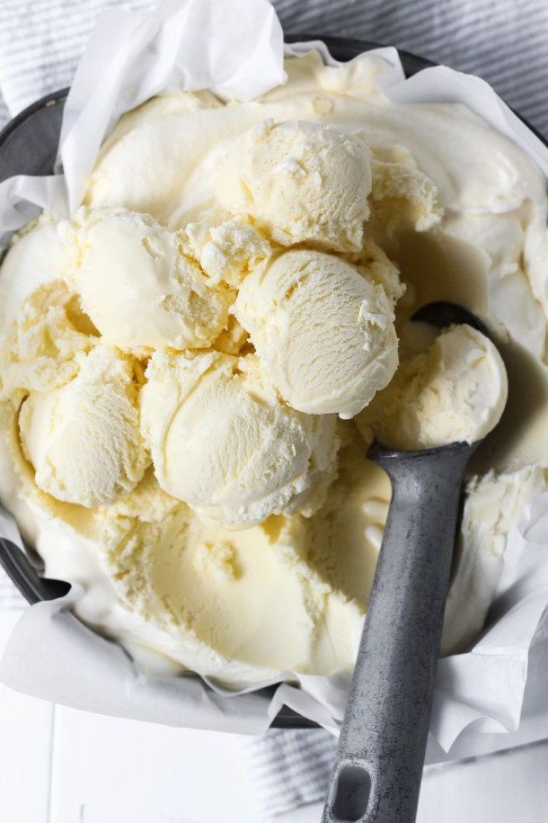 Bowl of homemade vanilla ice cream.