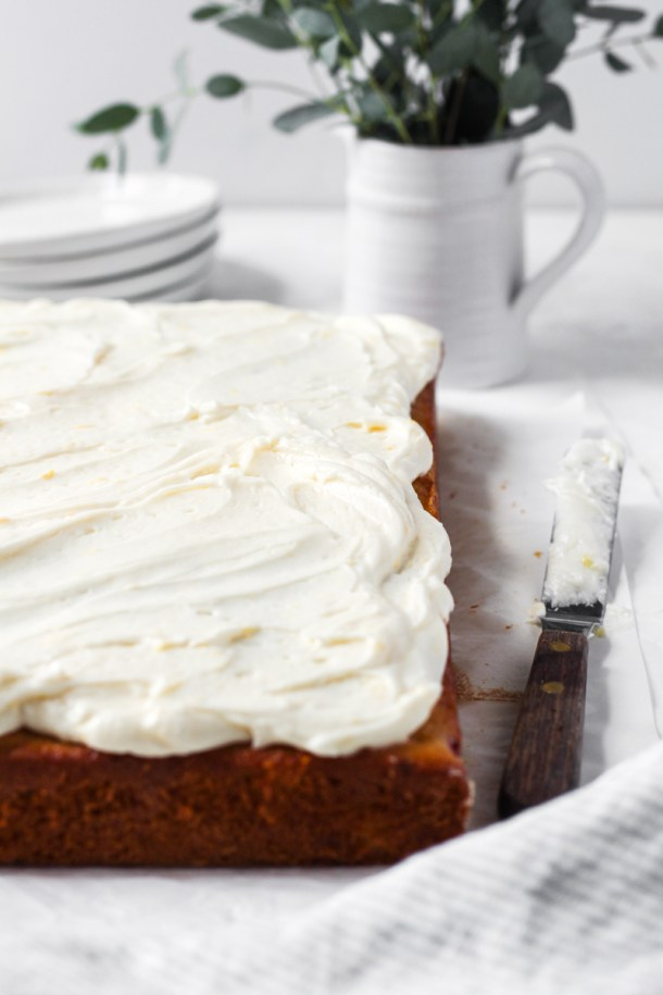 Rasberry sheet cake with lemon mascarpone frosting.