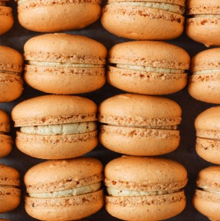 Overhead shot of columns of pumpkin macarons filled with pumpkin Swiss meringue buttercream.