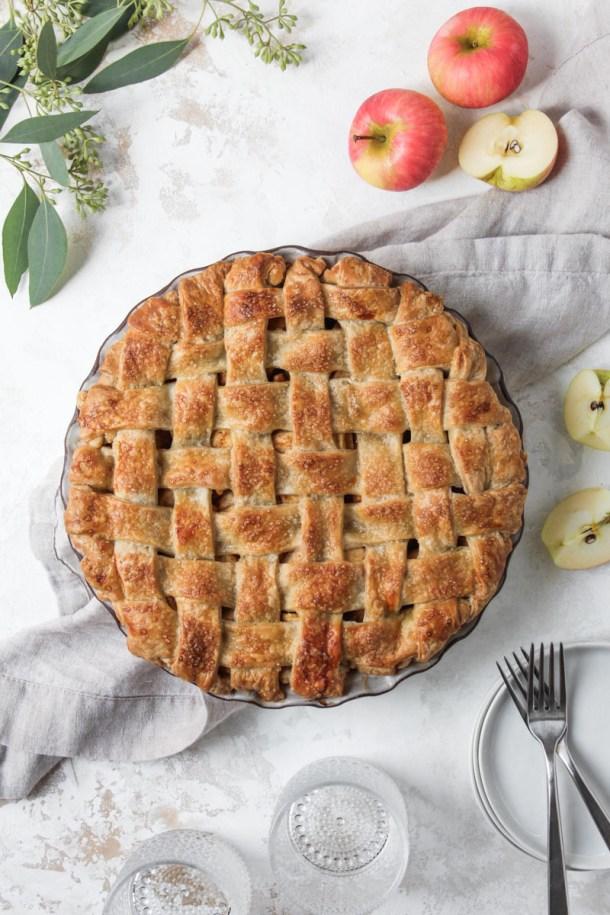 Overhead shot of chai apple pie with a lattice crust.