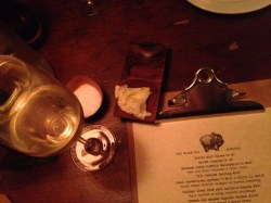 Beginning of our evening with a sparkling wine and shavings of Tete de Moin. That menu. That Wine List! Foodie Heaven.