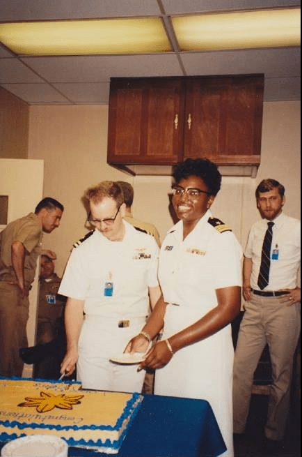 Karla and Don at Karla's promotion to Lieutenant Commander at Naval Space Command in Dahlgren, VA.