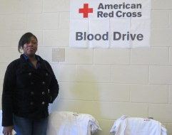 Mrs. Sahara White, NHS advisor, helps with the blood drive. Photo by Bobbianna Branch, Staff Photographer.