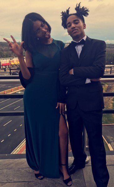 Senior Salena Webb, drama class president (left), and Senior Perry Webb (right) are dressed and ready for the award show. Photo by Mariah Stoudemire, Special to the Sword and Shield.