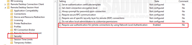Security - Enable NLA Group Policy
