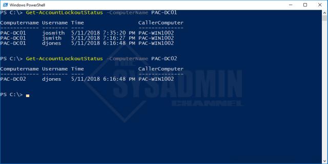 Get-AccountLockoutStatus -ComputerName PAC-DC01