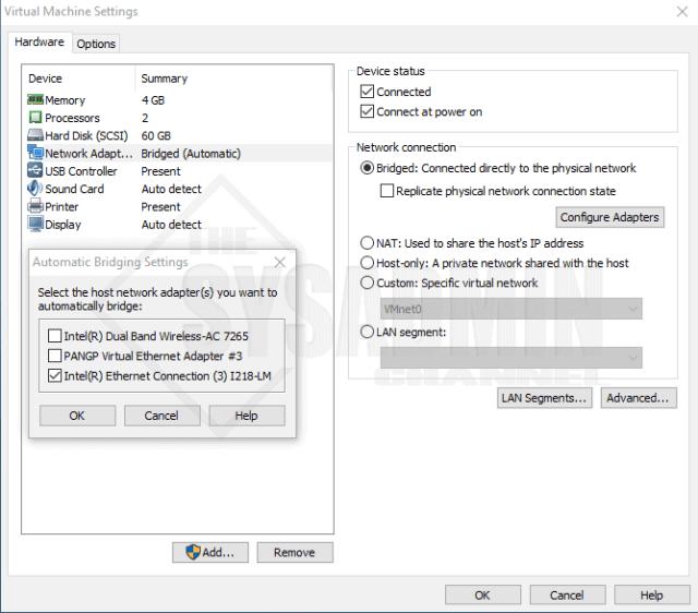 Bridged Adapters Showing in VMware Workstation