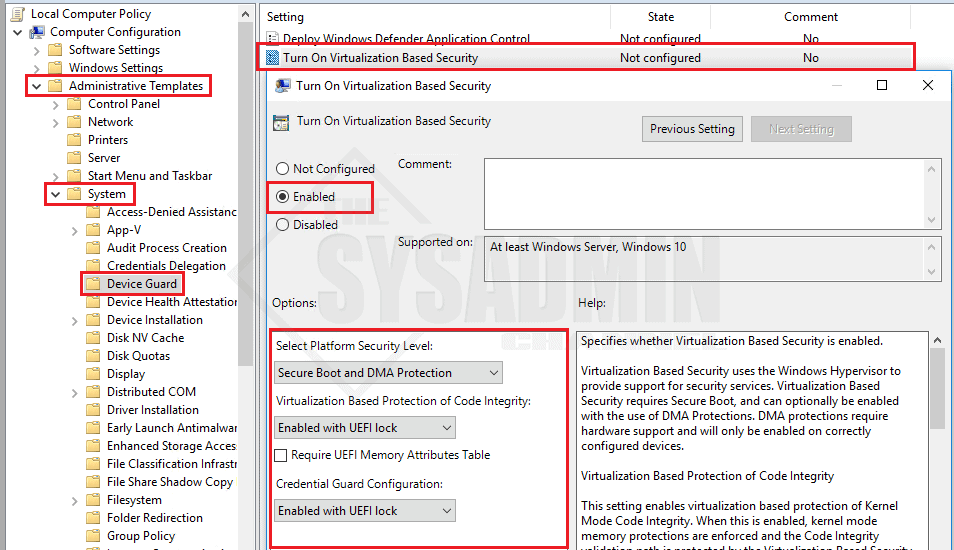 Enable Credential Guard in Windows 10 via Group Policy (GPO)