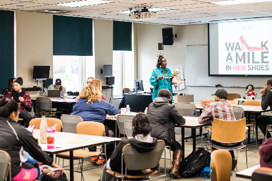 Taking classes such as Family Violence with Dr. West allows students to partake in useful activities, such as Walk in Her Shoes (pictured above), that they will carry with them the rest of their life.