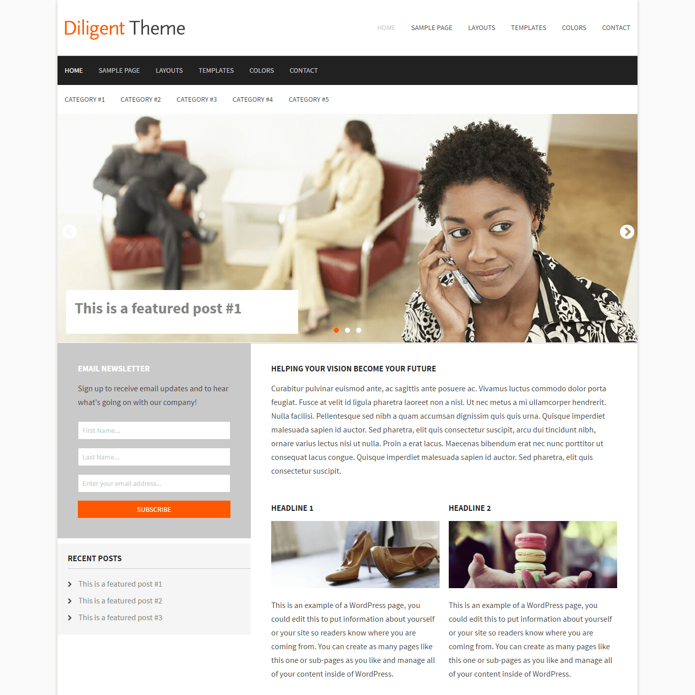 Get a free website with Diligent by Claro Themes on Talenthost