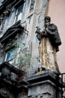 Facade of the Holy Cross finding in Capuchin Square, Brno, Czech Republic