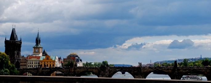Looking across at Charles Bridge and Prague Castle
