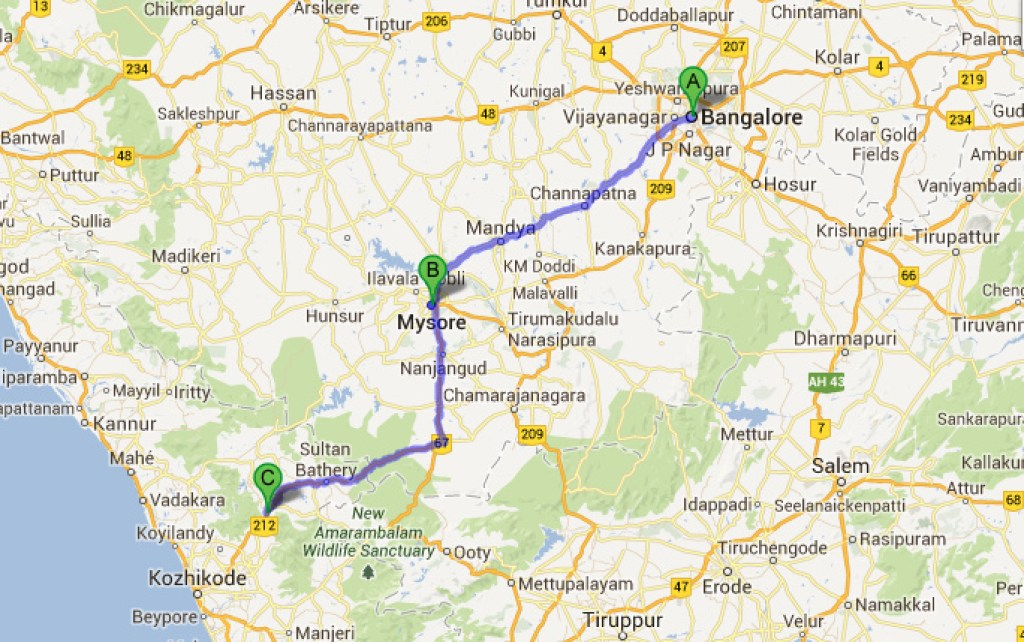 bangalore to wayanad distance