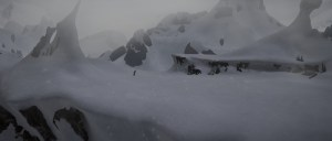 SIntel on the snowy cliff