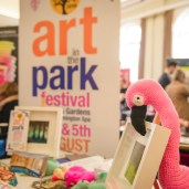 Art in the Park in Leamington - be a flamingo!