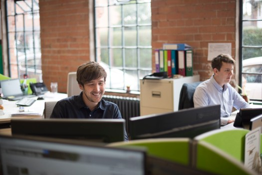 Sam Hobson and Jack Barnard in the office Wharton Natural Infrastructure Consultants, ecologist, arborist, warwickshire, midlands, alcester