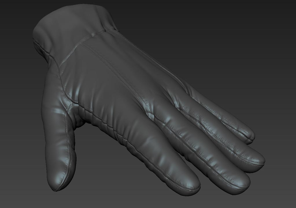 3D Clothing Glove Model Sculpt