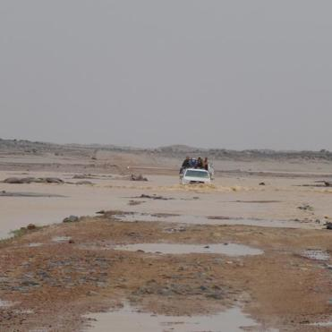 Traveling the national road in Mauritania by car