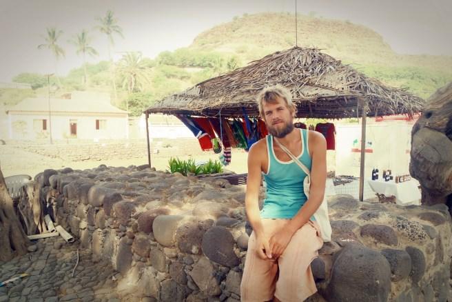 Blonde German traveler in Cidade Velha, Cap Verde