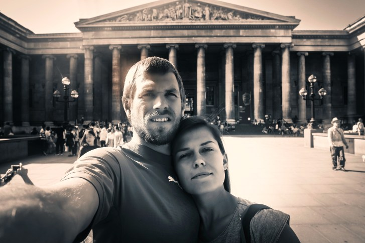 black and white selfie of a couple in front of the British Museum, in the United Kingdom