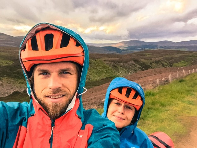 Two happy cyclists in Scotland