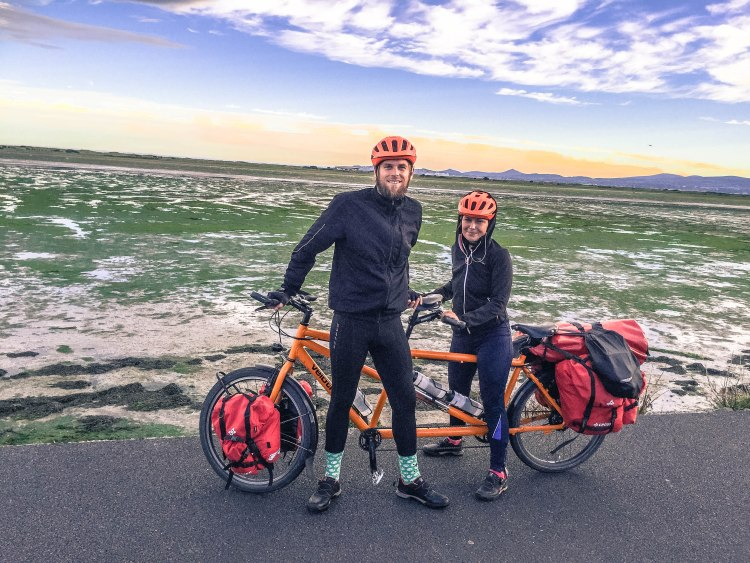 Couple travelling Ireland by tandem bicycle