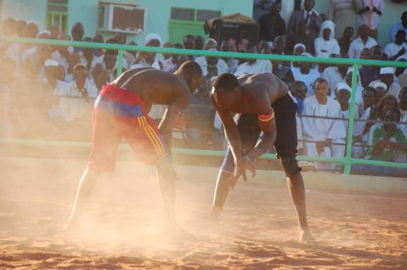 two Nubian wrestler / Nuba wrestling