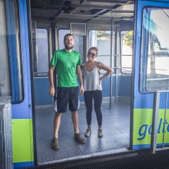 A couple in a cable car at the Golte Resort