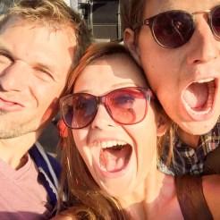 selfie of three happy people