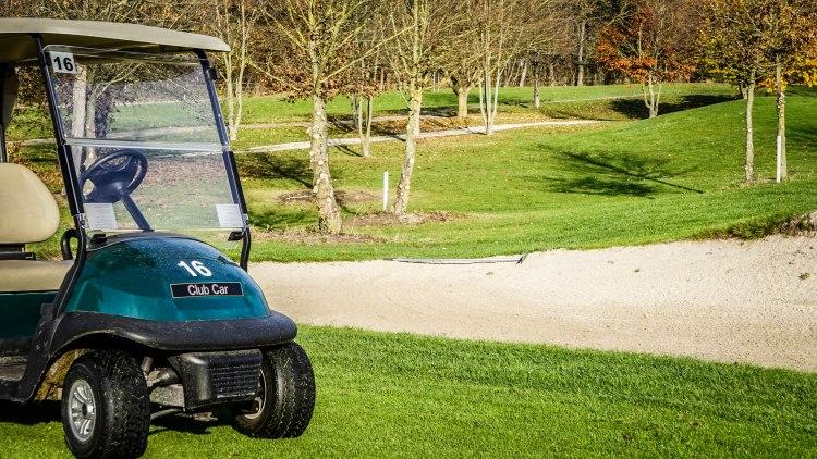 golf cart in the golf court