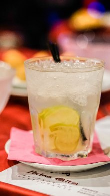 water with ice cubes and straw