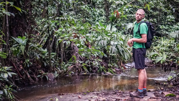 A man standing next to a stream in the jungle close to Cayenne in French Guiana
