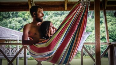 a couple together on a hammock