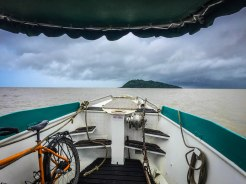 a bicycle on a boat to French Guiana Ilet la Mere