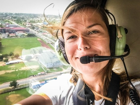 a women in a helicopter