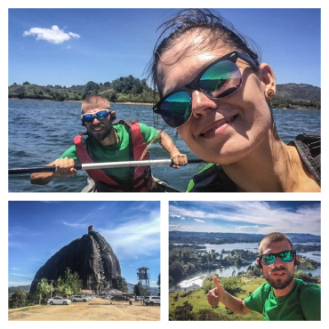 collage of kayak mountain and people