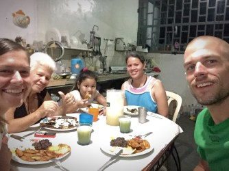 selfie of a family eating in South America