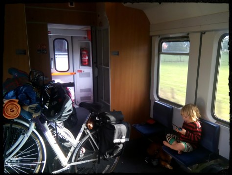 Bicycle standing in train