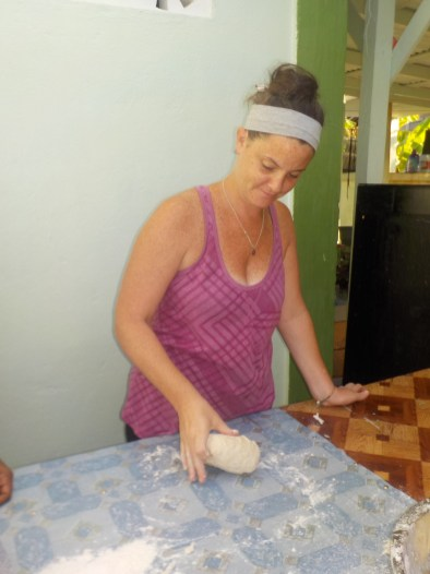 America peace corp in Guyana baking bread