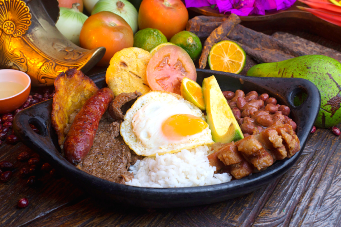 Traditional Colombian Food / Bandeja Paisa dish on a plate