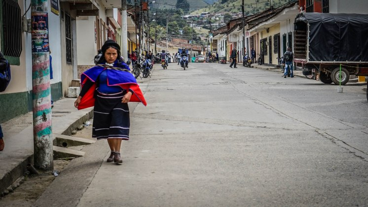 An indigenous woman walking in Silvia town, Colombia