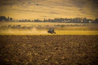 a tractor on the field in Kazakhstan