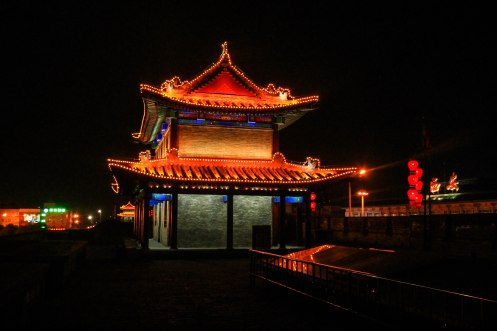 Temple in China during night / Hitchhiking journey
