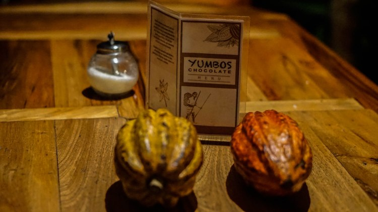 A wooden table with two Cocoa pods, sugar container and a sign which says Yumbo's Chocolate