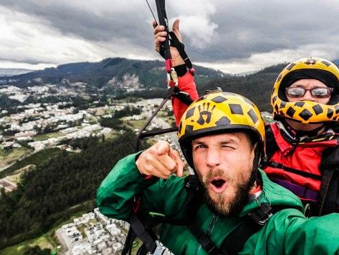 two men in tandem paraglider