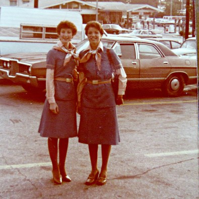 Michele Huffman Carson next to another woman in front of a car / Flight Attendant Lifestyle